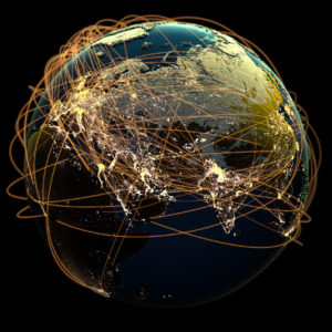 Global Communications. 3D rendering.